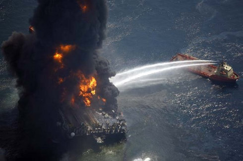 Deep Water Oil Rig fire